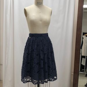 Navy lace River Island midi skirt. Size 4